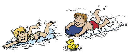 Drawing of girl and boy swimming